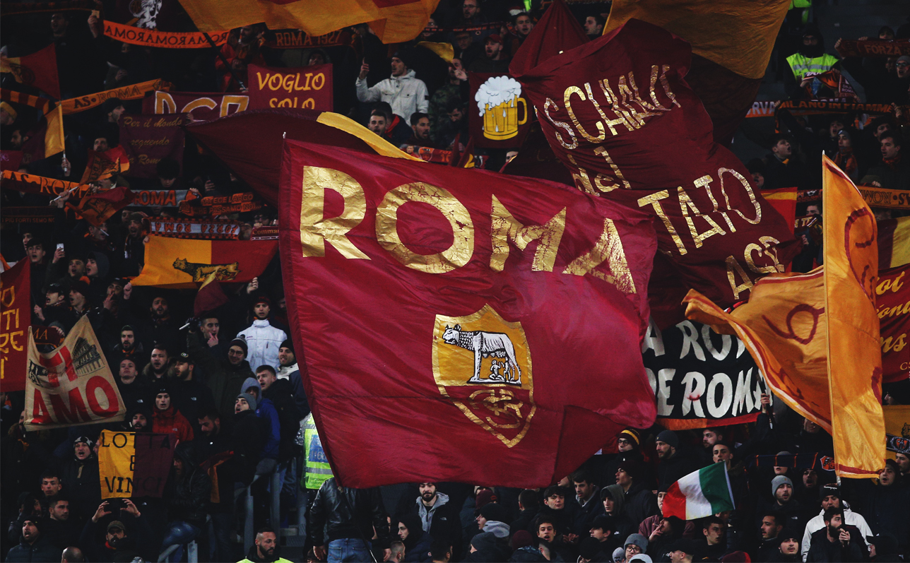 ASRoma Flag in a Stadium