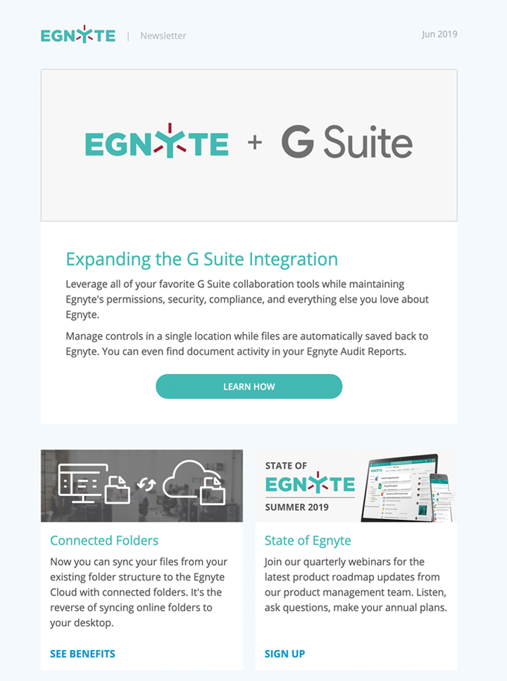 Thumbnail of June 2019 Egnyte Customer Newsletter