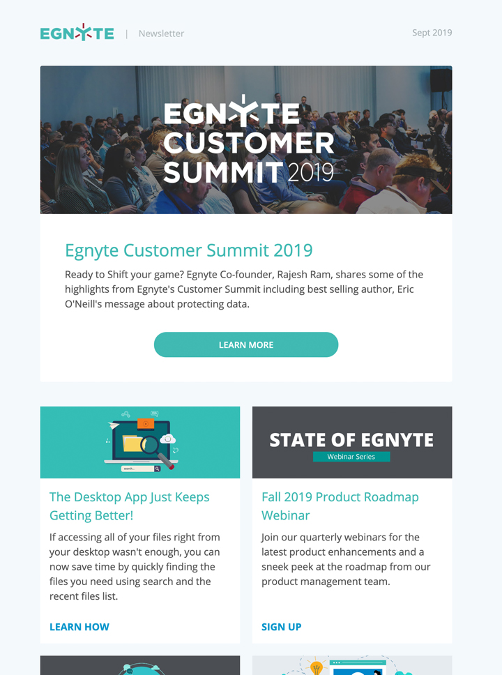 Thumbnail of September 2019 Egnyte Customer Newsletter