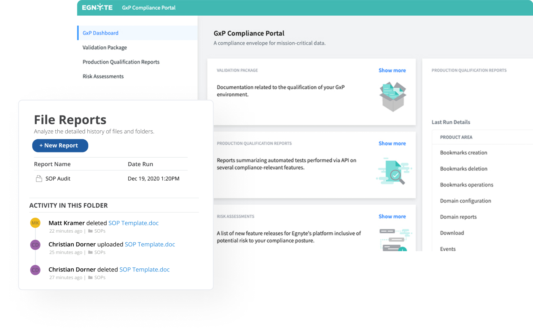 gxp compliance portal with file reports option