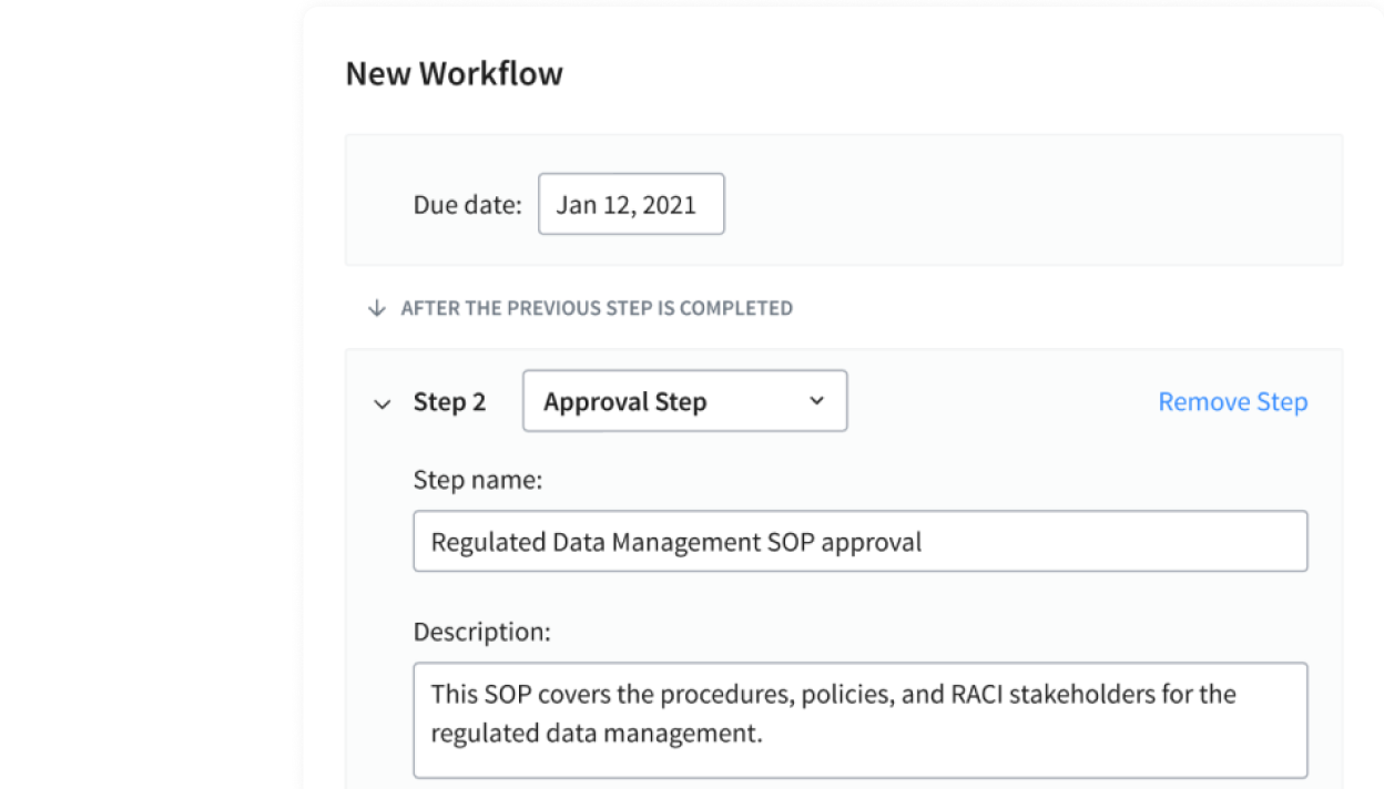 new workflow screenshot showing approval steps