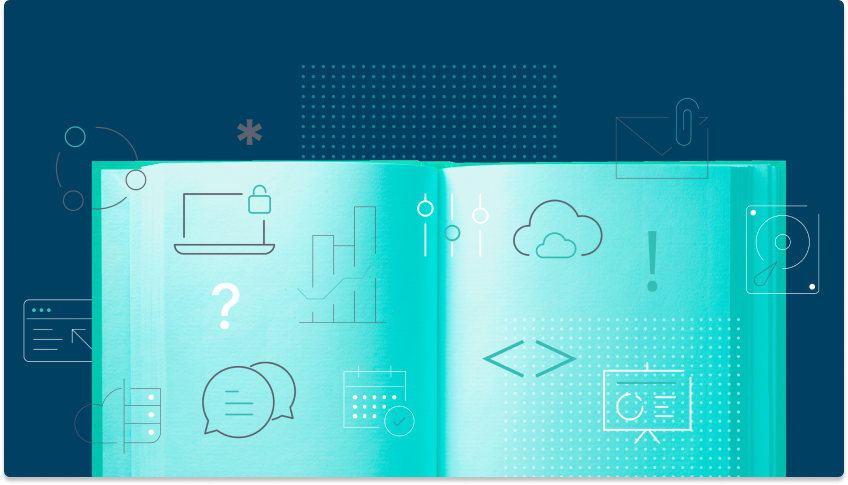 Open book with depictions of a locked laptop, the cloud, and other items related to data governance.