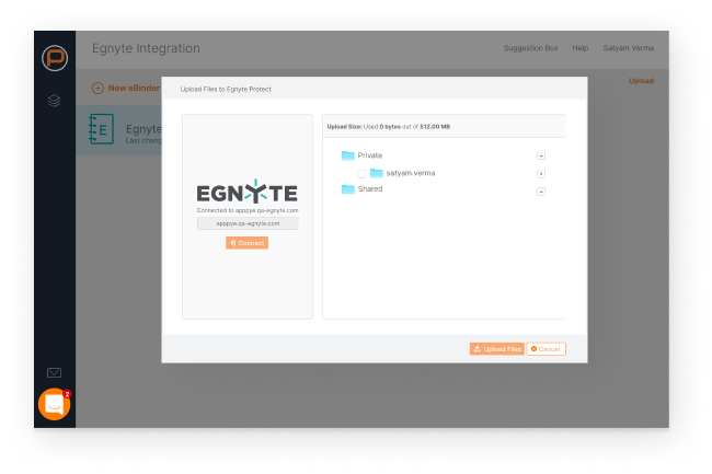 Dashboard showing project documentation in Egnyte