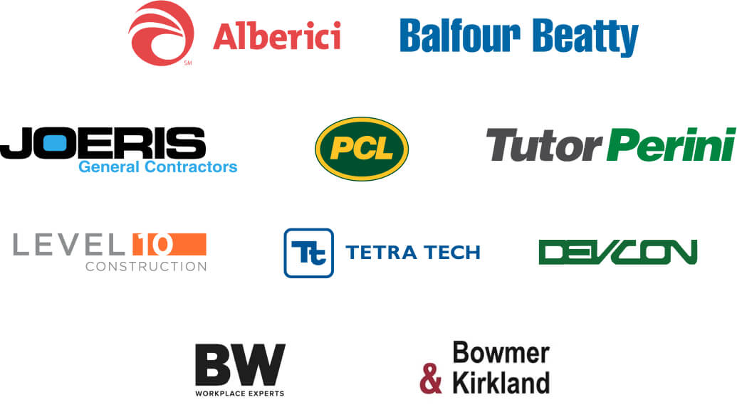 logos for balfour betty, alberici, devcon, and other companies
