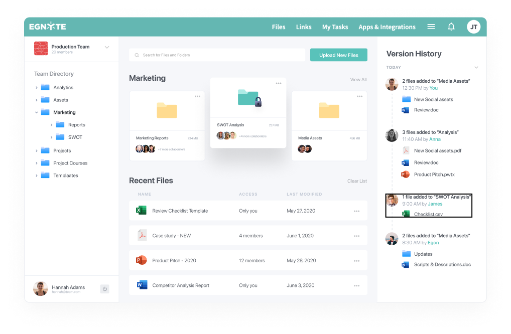 marketing dashboard with version history